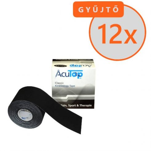 ACUTOP Classic Kineziológiai Szalag / Tapasz 5 cm x 5 m Fekete 12 DB/GYŰJTŐ